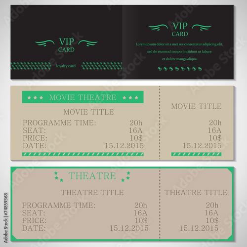 Vip card movie theatre and theatre flyer template vector vip card movie theatre and theatre flyer template vector illustration graphic design maxwellsz