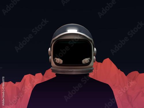 Fotografie, Obraz  Astronaut with Mars Mountain Landscape