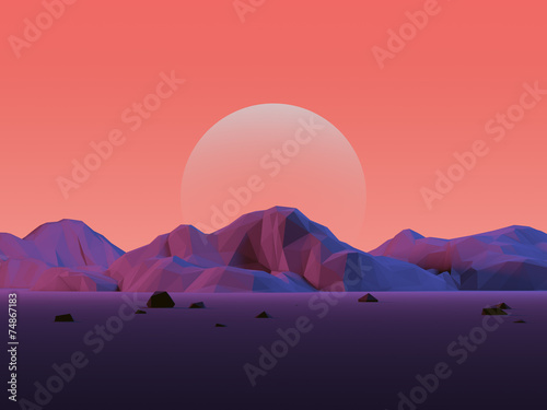 Photo  Low-Poly Mountain Landscape with Moon