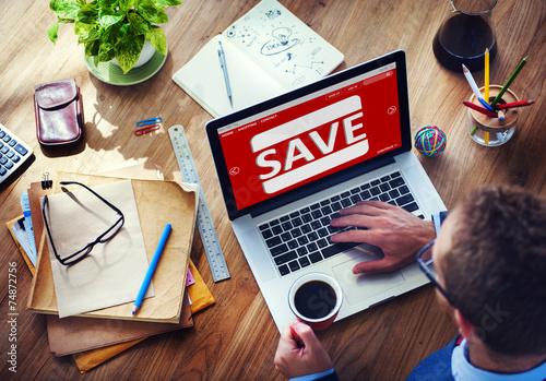 Fotografía  Man Working Computer E-Commerce Retail Promotion Sale Concept