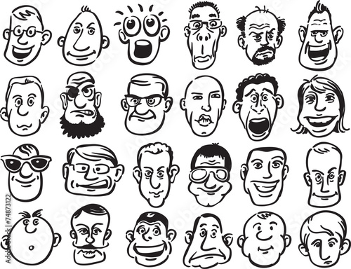 Set of caricature faces Canvas-taulu