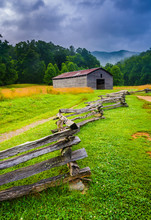 Fence And Barn On A Foggy Morning, At Cade's Cove, Great Smoky M