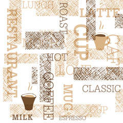 Panel Szklany Kawa Coffee Themed Seamless Pattern