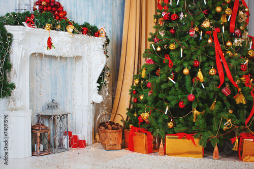 Fototapety, obrazy: Christmas tree with fireplace, Christmas holiday and New Year.