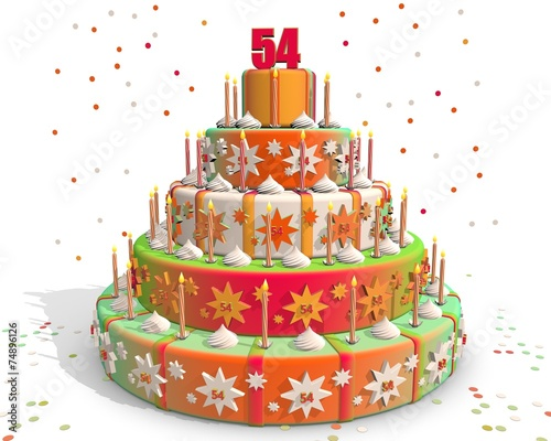 Fotografia  Feestelijke gekleurde taart met cijfer 54
