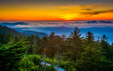 Sunset Over Mountains And Fog ...