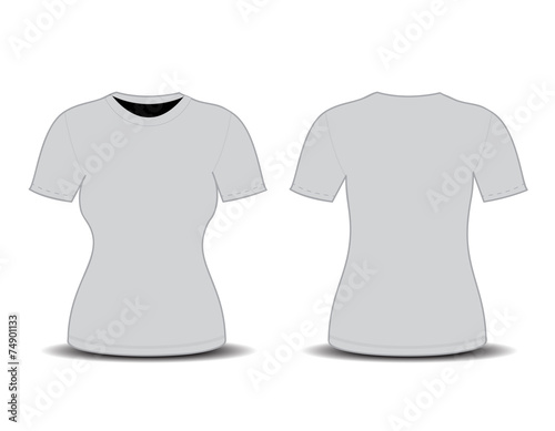 Blank T Shirt Template Front And Back Views Vector Illustrati