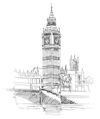 London Landmark. Landscape of London. Big Ben Tower. Vector Hand-drawn Sketch Illustration.