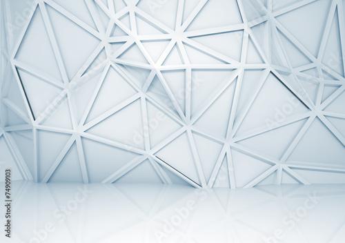 fototapeta na lodówkę 3d wnętrze z wielokąta wzorem ulgi na ścianie