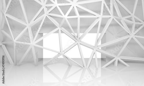 fototapeta na lodówkę Streszczenie wnętrze pokoju z chaotycznym 3d konstrukcji szkieletowej
