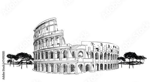 Photo  Colosseum in Rome, Italy. Landmark Coliseum, city landscape.
