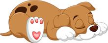 Cute Puppy Cartoon Sleeping