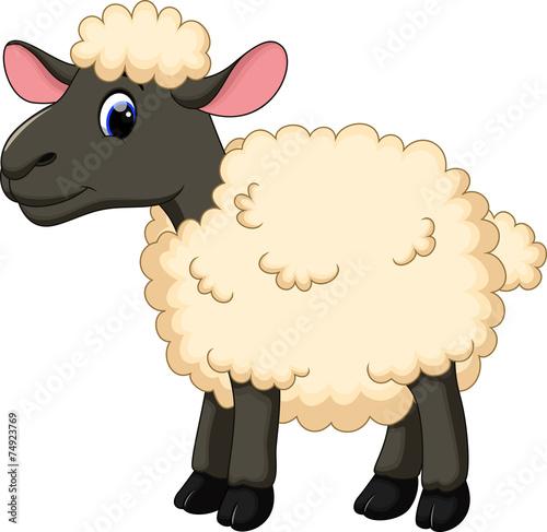 Fotobehang Boerderij Cute sheep cartoon
