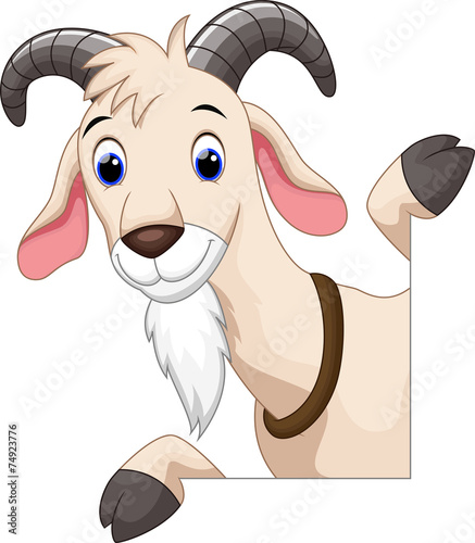 Cute goat cartoon Canvas Print