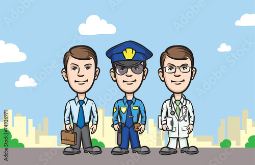 Fotografie, Obraz  three cartoon professionals businessman policeman doctor