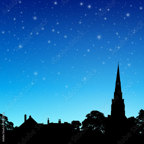 Fotografiet Church Spire with Night Sky