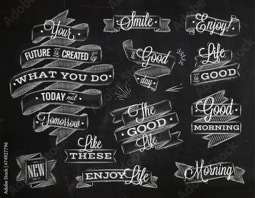 Ribbons lettering chalk Wallpaper Mural