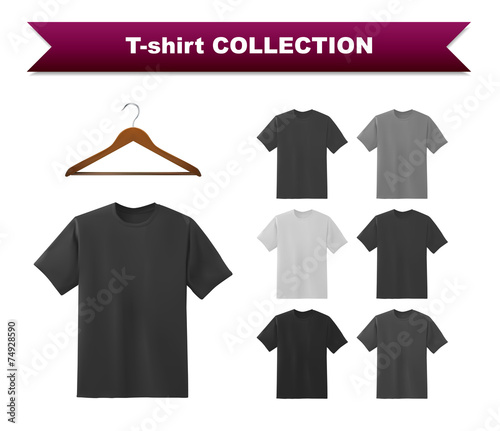 black t shirt template collection with hanger buy this stock
