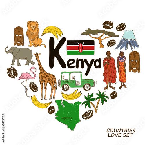 Kenyan symbols in heart shape concept Wall mural