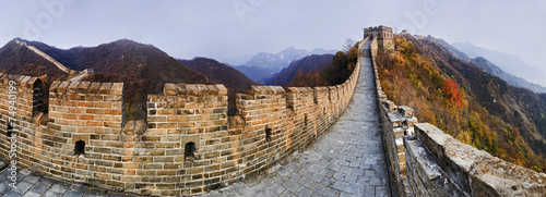 Foto op Canvas Chinese Muur CN Great Wall 9 Vert Panorama