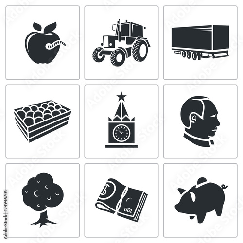 Photo  Agriculture Vector Icons Set