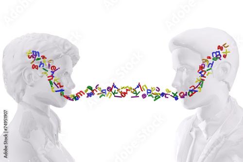 Fotografie, Obraz  Two persons talking.  Language concept