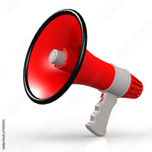 Fotografía  Isolated red megaphone