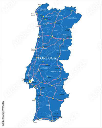 Portugal map Canvas Print