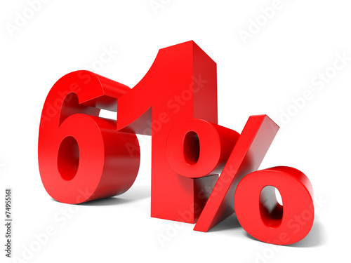 Poster  Red sixty one percent off. Discount 61%.