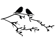 Vector Silhouette Birds On A Tree Branch