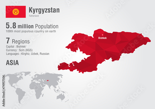 Kyrgyzstan world map with a pixel diamond texture. - Buy this stock on russia world map, latvia world map, myanmar on world map, sudan world map, pakistan on world map, spain world map, nepal world map, lebanon world map, laos world map, iceland world map, azerbaijan world map, sierra leone world map, liberia world map, philippines world map, lesotho world map, mongolia world map, romania world map, malaysia world map, uzbekistan world map, somalia world map,
