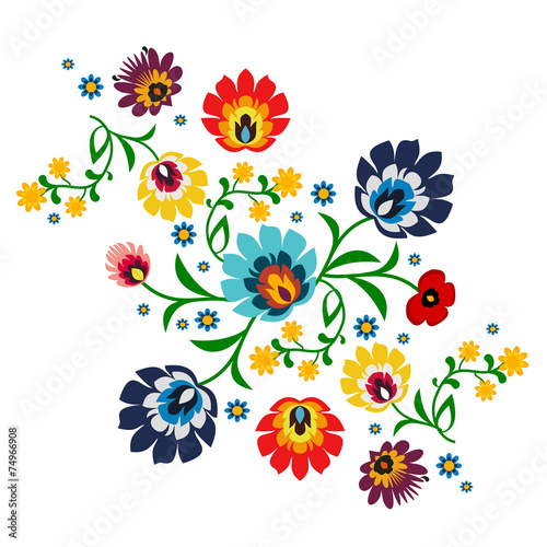 Photo  Traditional Polish floral folk pattern vector