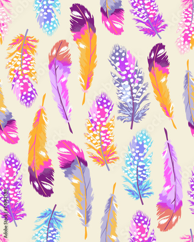 Cotton fabric soft feather print ~ seamless background