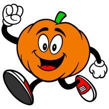 Pumpkin Mascot Running