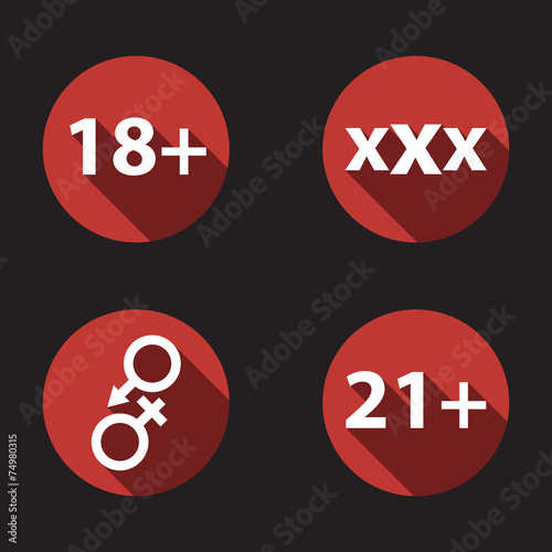 Poster  adult content flat icons vector illustration, eps10