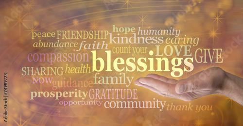 Fototapeta Count Your Blessings Golden Banner