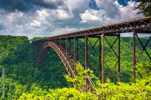 In de dag Brug The New River Gorge Bridge, seen from the Canyon Rim Visitor Cen
