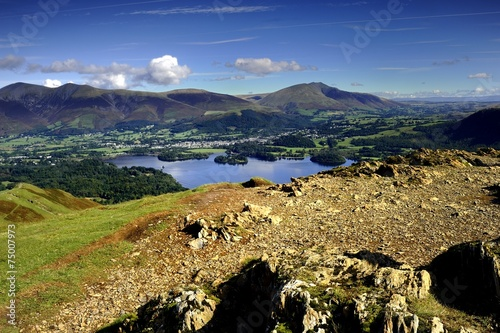 Leinwand Poster Blencathra, Derwent Water from Cat Bells