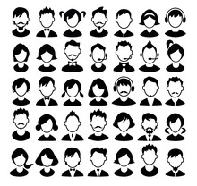 Set Of Boys And Girls Avatars And Operator Icons. Vector.