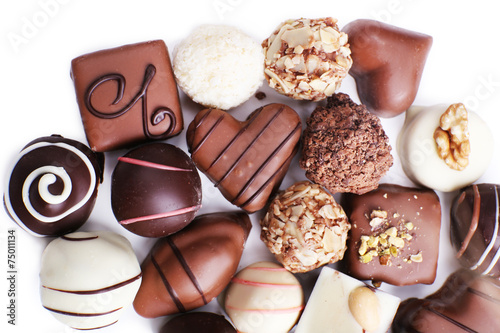 Poster Confiserie Chocolate sweet collection isolated on white background