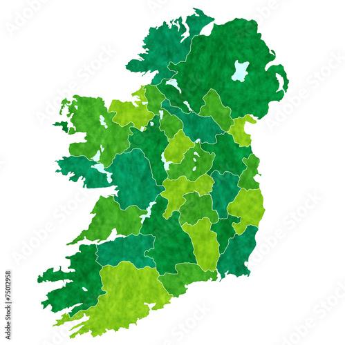 Fotografie, Tablou  アイルランド 地図 国