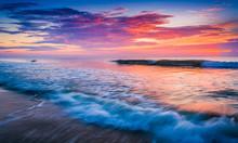 Waves On The Atlantic Ocean At Sunrise, St. Augustine Beach, Flo
