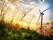 Leinwandbild Motiv Wind Turbine in sunset