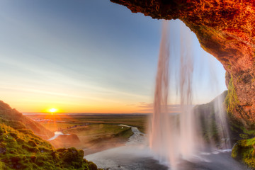Obraz na SzkleSeljalandsfoss Waterfall at sunset, Iceland