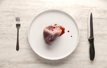 Pork Heart On A White Plate