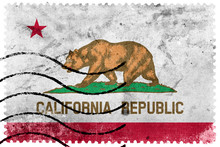 California State Flag - Old Postage Stamp