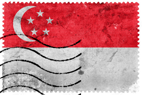 Photo  Singapore Flag - old postage stamp