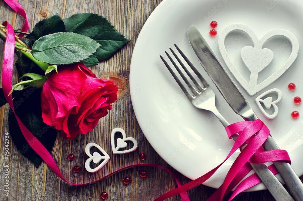 Fototapeta Saint Valentines's Day  festive romantic table setting and rose