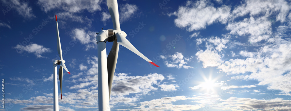Fototapety, obrazy: energy wind turbines and sky with clouds