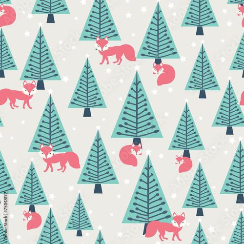 Fototapety, obrazy: Christmas seamless pattern